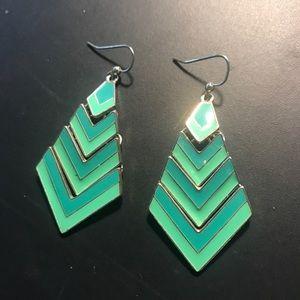Green Chevron Statement Earrings